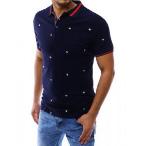 Pánská modrá košile s výšivkami a s krátkým rukávem