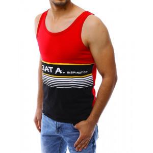 Sportovní tílko v červeno černé kombinaci s bílým nápisem