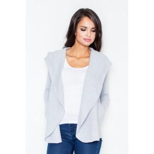 Dámský svetr šedé barvy s kapucí