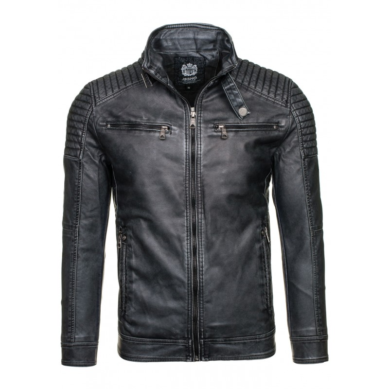 Černá kožená bunda pro pány - manozo.cz f3157439b58