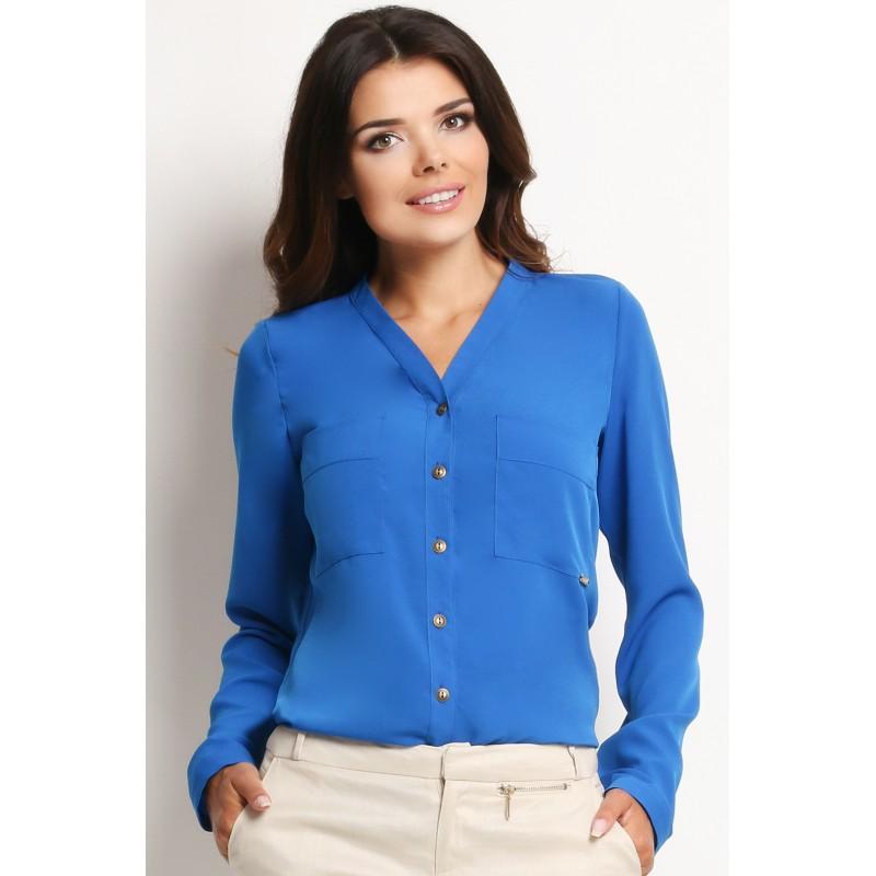 Formální dámská volnější košile modré barvy - manozo.cz 8677caf234