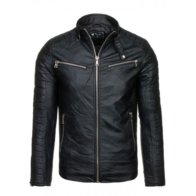 Elegantní kožená bunda pro pány černé barvy - manozo.cz 09a0f0063f9