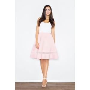 Dámské společenské sukně s průsvitným pruhem růžové