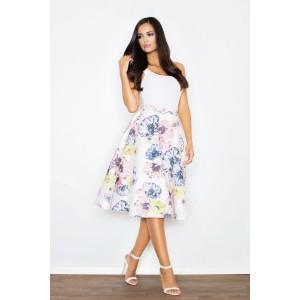 Dámská bílá sukně s barevnými kvítky