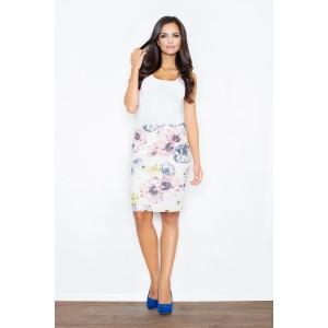 Květovaná dámská sukně bílé barvy