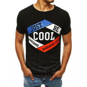 Moderní pánské tričko v černé barvě s potiskem