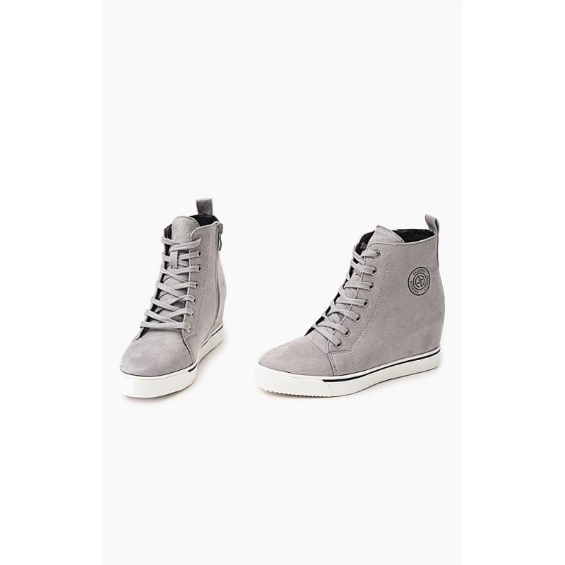 ... obuv Dámské vysoké tenisky šedé barvy s klínovým podpatkem. Předchozí 4f762a123d