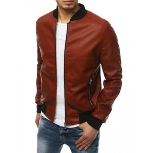 Stylová pánská kožená bomber bunda v krásné cihlové barvě