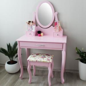 Růžový toaletní stolek na kosmetiku se zrcadlem