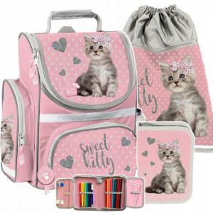Růžová školní taška s motivem koťata v třídílné sadě