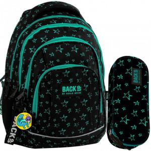 Černá školní taška s hvězdičkami v dvoudílném setu
