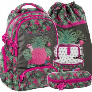 Růžová školní taška s motivem barbie v trojčasťovom setu