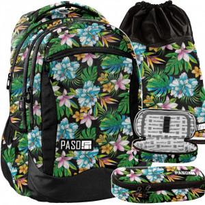 Dívčí školní taška v trojčasťovom setu s květinovým motivem