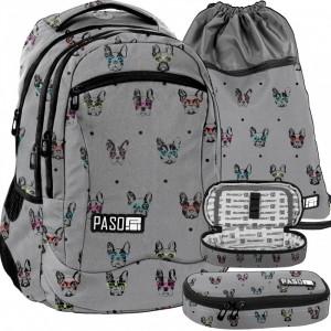 Šedá školní taška s penálem a kapsou na přezůvky