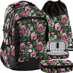 Nádherná květovaná školní taška v praktické třídílné sadě