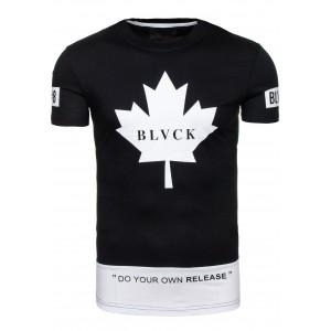 Černé trička s bílým potiskem pro pány