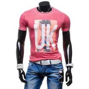 Moderní pánská trička červené barvy s potiskem