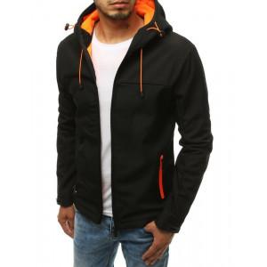 Černá pánská přechodná bunda s kapucí s oranžovou barvou