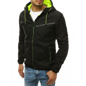 Černá pánská přechodná bunda na zip s kapucí