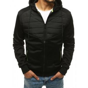 Moderní pánská černá přechodná bunda s kapucí