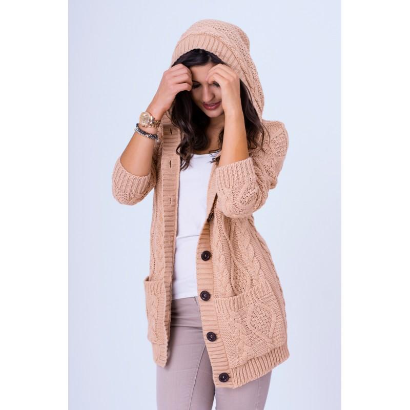 Dámský pletený svetřík růžové barvy s knoflíky - manozo.cz 50c50a5f4d