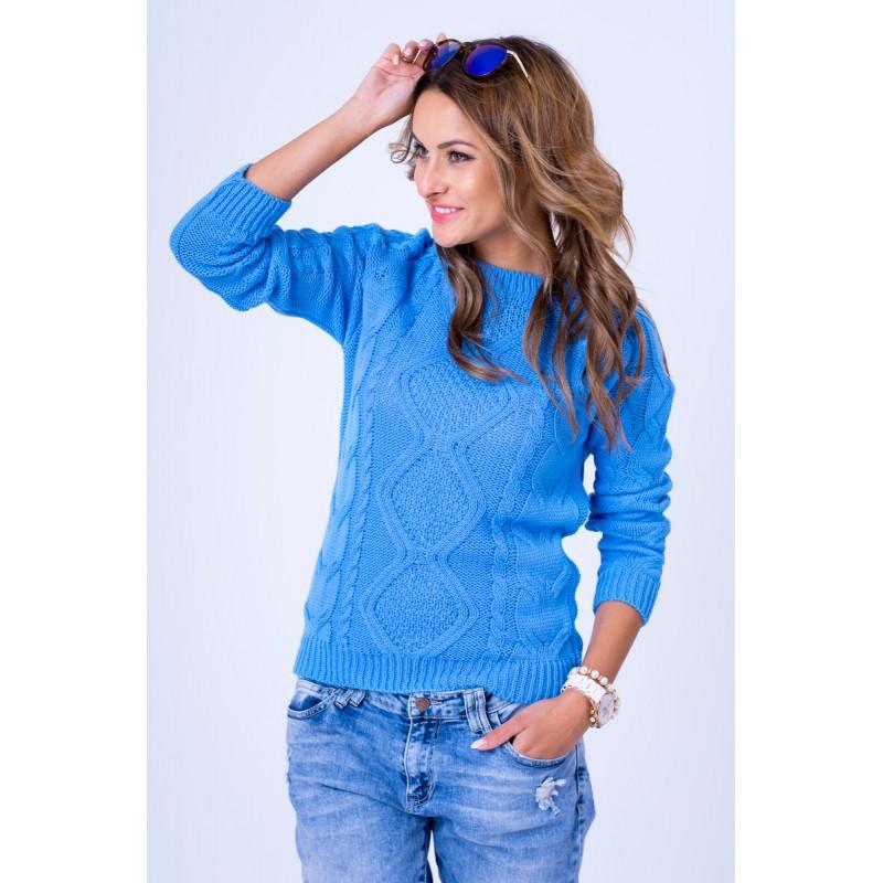 969380350f1 ... svetry Dámský pletený svetr světle modré barvy. Předchozí