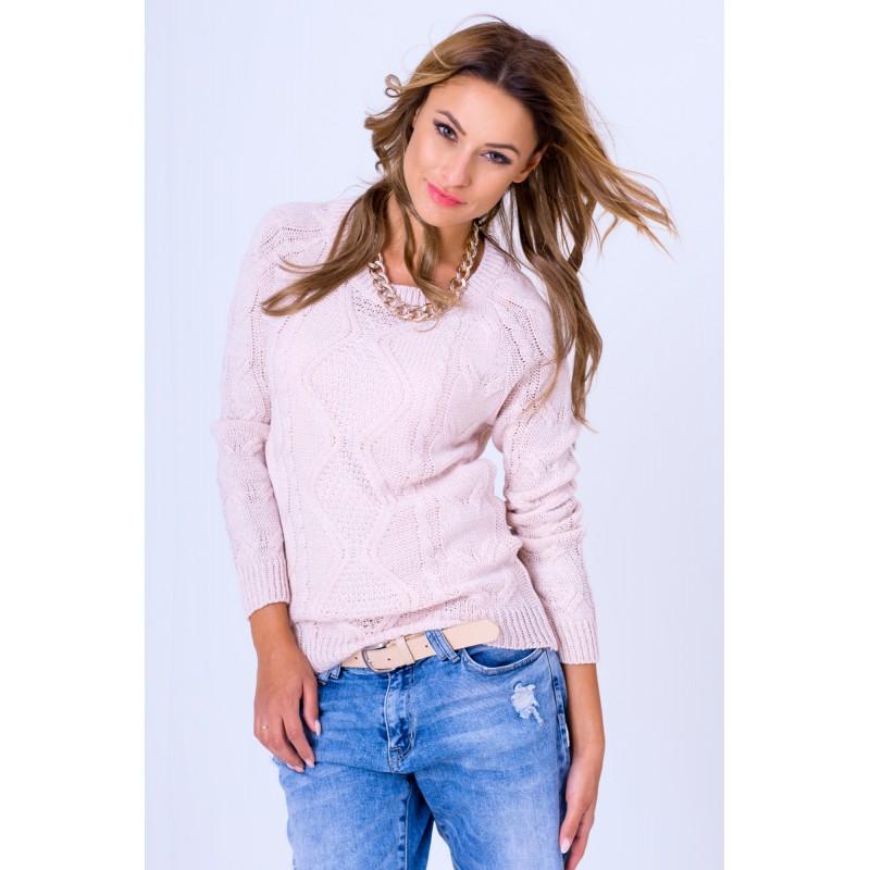88e19aa0605a ... svetry Dámský pletený pulovr pudrově růžové barvy. Předchozí
