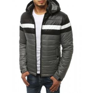 Krásný nylonová přechodná bunda v šedo bílo černých barvách