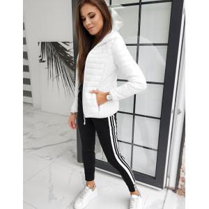 Klasická bílá prošívaná podzimní bunda