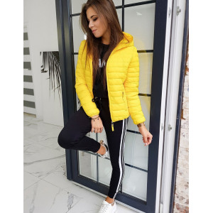 Žlutá dámská přechodná bunda na podzim
