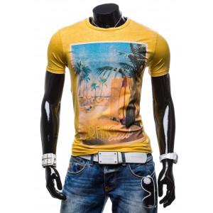 Stylové pánské tričko hořčičné barvy s motivem pláže