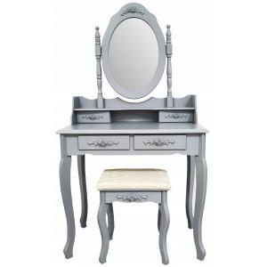 Šedý toaletní stolek na kosmetiku