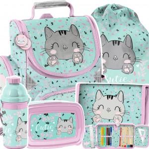 Školní taška s kotětem v praktické 5-dílné sadě