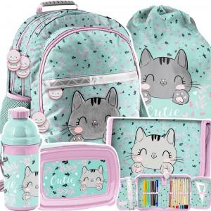Školní batoh v 5-dílné sadě s roztomilým koťátkem
