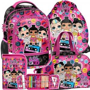 Trendový školní batoh s LOL panenkami v 4-dílné sadě