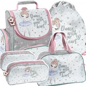 Trendová 4-dílná školní taška s malou baletkou