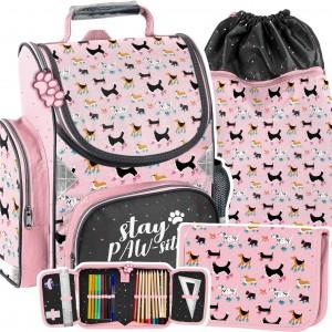 Růžová školní taška pro dívky se pejsků v 3-dílné sadě