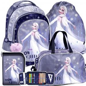 Fialový 4-dílný školní batoh s Elsou