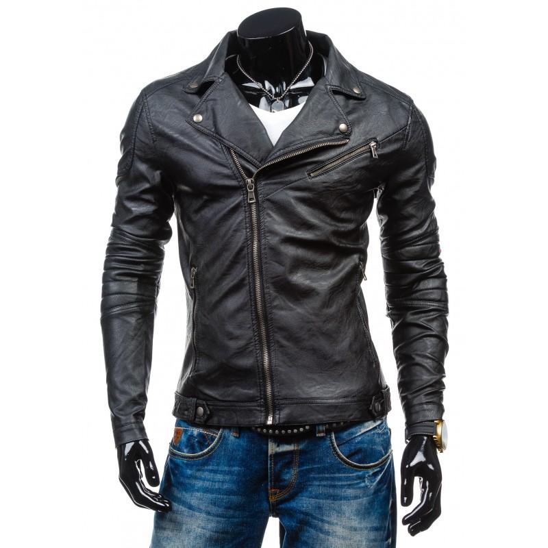 Kožená bunda pro muže černé barvy - manozo.cz c80aba5d49c