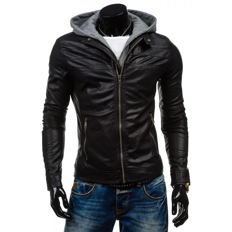 97acfc1f43 Stylový pánská kožená bunda černé barvy s kapucí - manozo.cz