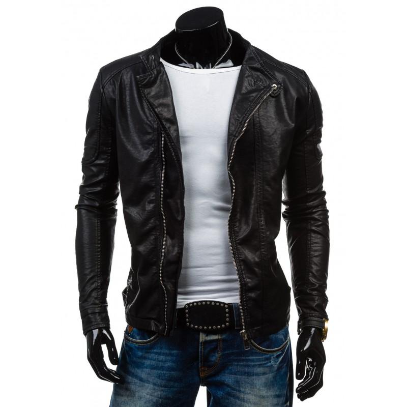 Pánská kožená bunda v černé barvě se zipem - manozo.cz 28ed969006b