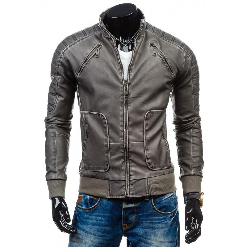 e1b266474a6e ... bundy Pánská kožená bunda šedé barvy s kapsami. Předchozí