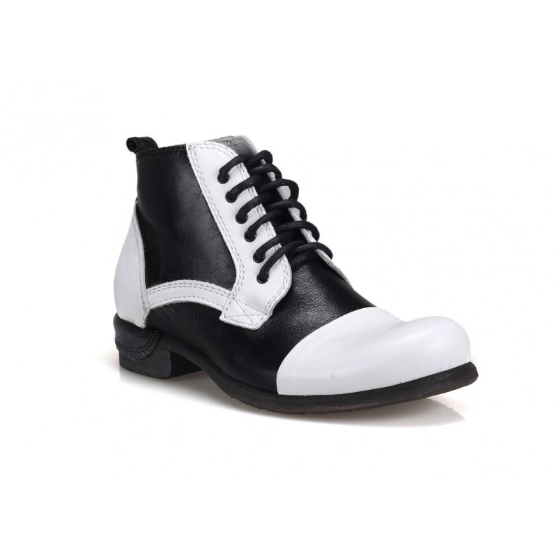 Kožené pánské boty bílo černé barvy COMODO E SANO - manozo.cz 5c63b73405