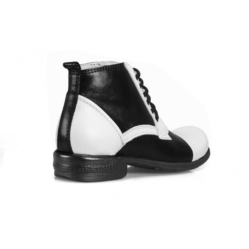 Kožené pánské boty bílo černé barvy COMODO E SANO - manozo.cz f854f097c5