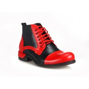 Černo červené italské pánské boty COMODO E SANO