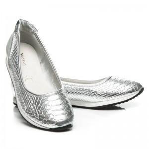 Stříbrno šedé dámské baleríny