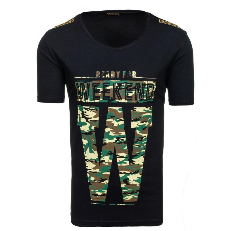 ... trička Stylové pánské tričko s maskáčovým potiskem černé barvy.  Předchozí 2835c412fd