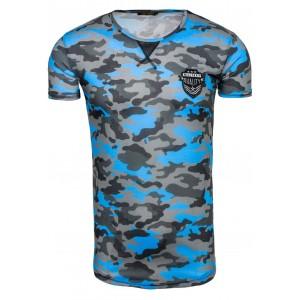 Maskáčové tričko s krátkým rukávem světle modré a šedé barvy