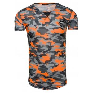 Sexy tričko pro pány šedo oranžové barvy s maskáčovým motivem