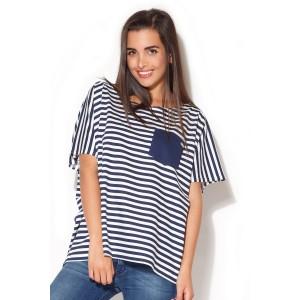 Letní dámská trička v bílo modré barvě
